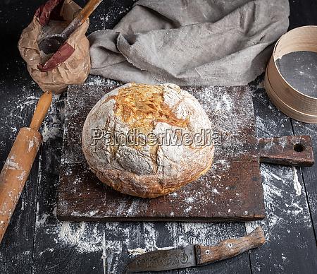 baked bread white wheat flour wooden
