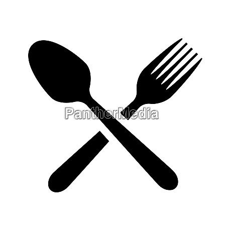 spoon fork equipment kitchen utensil silhouette