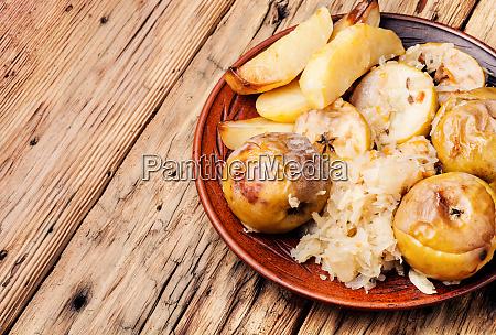 baked potatoes apples and sauerkraut
