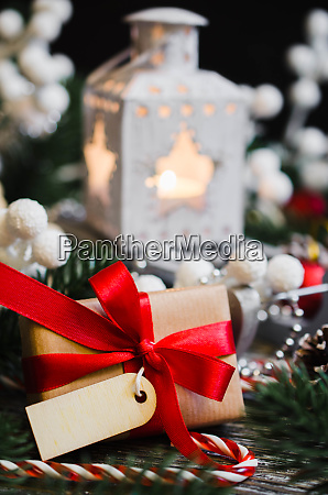 christmas still life with lantern and