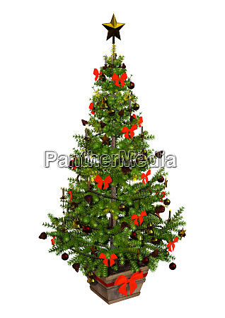 3d rendering victorian christmas tree on