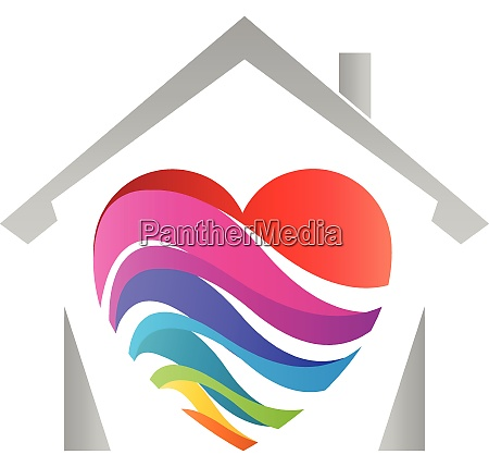 house heart rainbow painter printing house