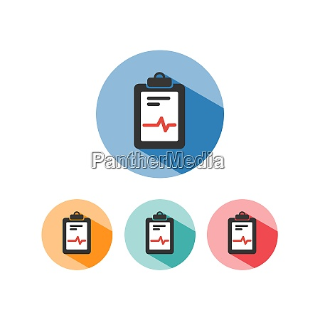 medical chart icon colored circles cardiogram