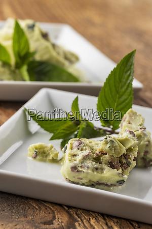 peppermint ice cream on plates