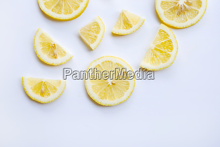 fresh lemon slices on white
