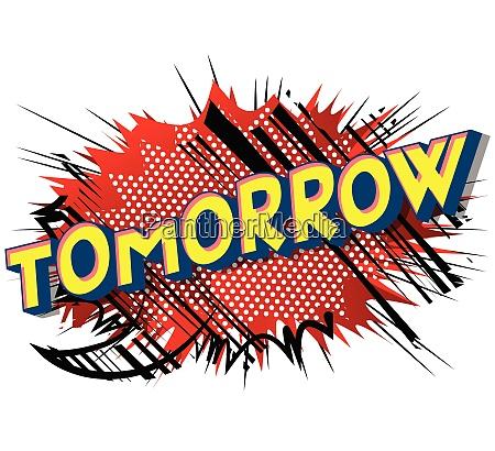 tomorrow comic book style words