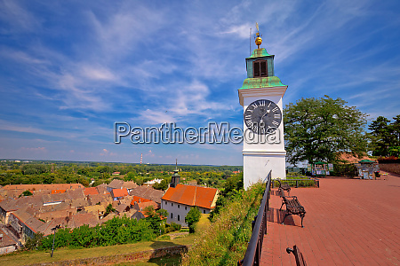 petrovaradin clock tower and rooftops on