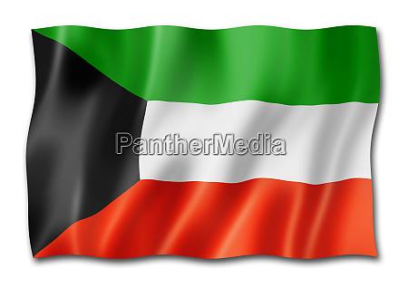 kuwaiti flag isolated on white