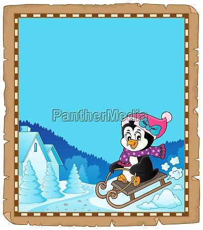 sledging penguin theme parchment 2