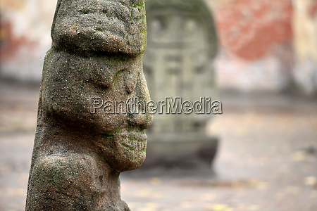 old stone aztec gods close to
