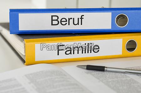 folders with the german label beruf
