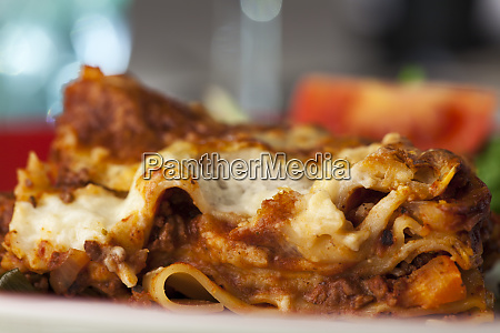 portion of classical italian lasagna on