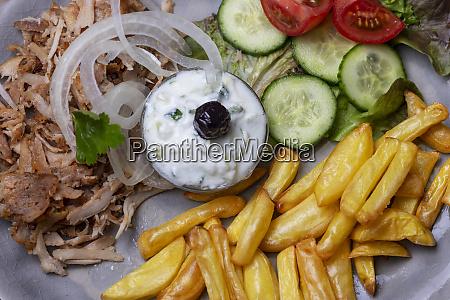 greek gyros with tzaziki and fries