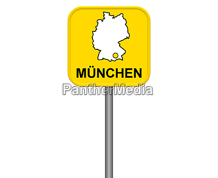 munich yellow city sign with