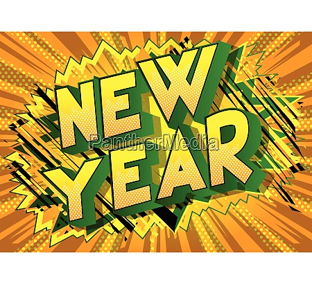 new year comic book style