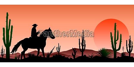 desert man riding a horse