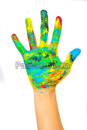 hands painted with mixed colors