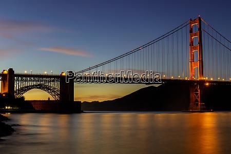 twilight lights over the golden gate
