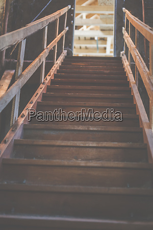 an old wooden staircase in an