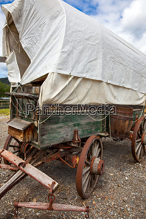 covered wagon in mcleese lake british