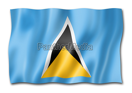 saint lucia flag isolated on white