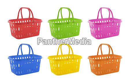 collection of colorful shopping baskets isolated