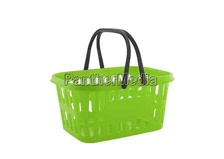 green shopping basket isolated on white
