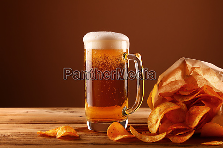 close, up, beer, glass, and, potato - 26135874