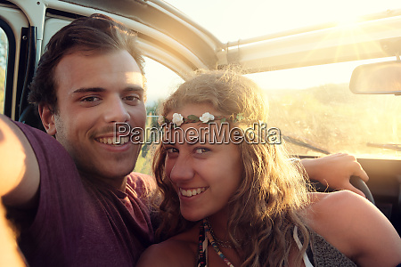 happy, couple, in, a, car - 26136342