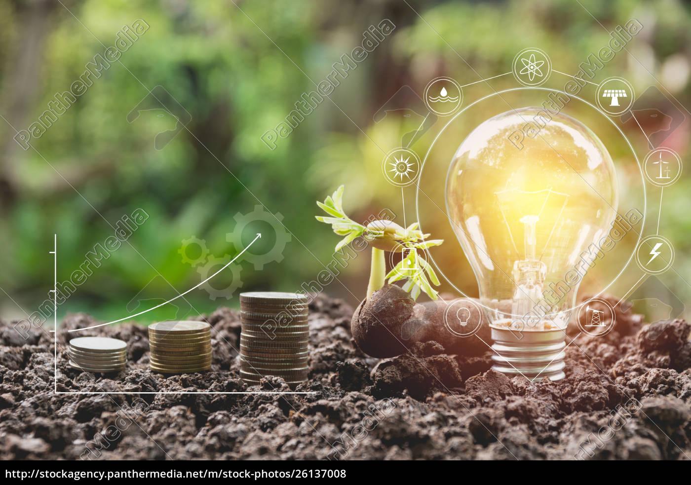 energy, saving, light, bulb, and, tree - 26137008