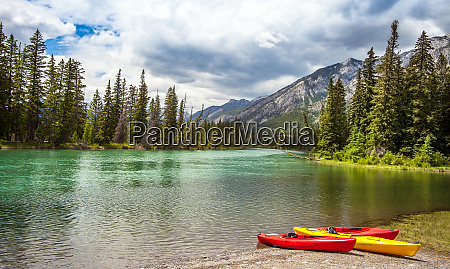 canoes at the bow river in