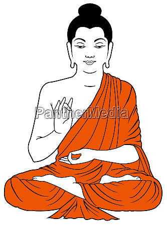 monk peace wisdom meditating position illustration