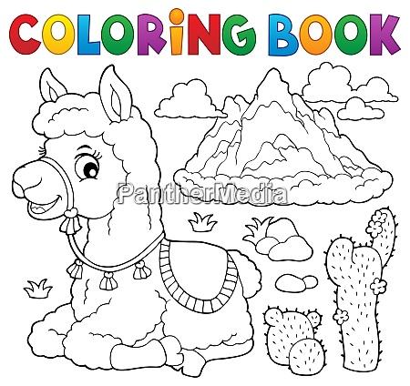 coloring book llama near mountain