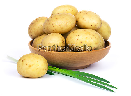 raw potatoes and green onions