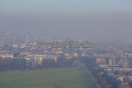 dense smog over the city aerial