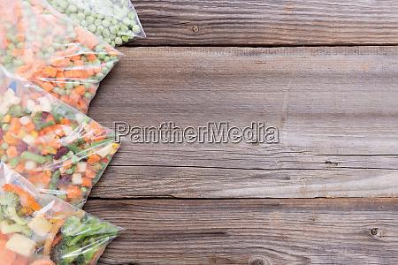 frozen vegetables in a plastic bag