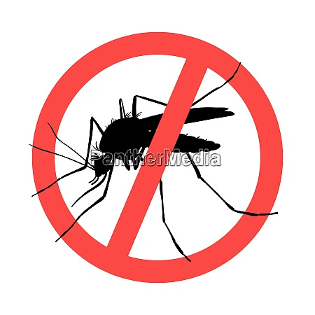 mosquito symbol parasite warning sign silhouettes