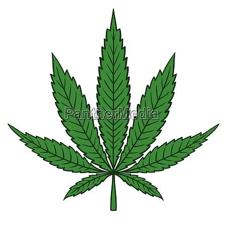 cannabis marijuana leaf in flat vintage