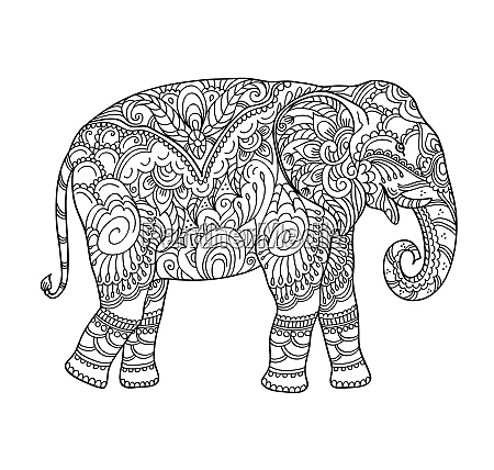 drawing zentangle elephant for coloring book