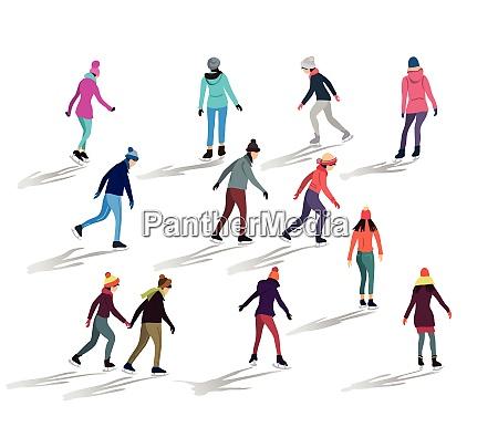 crowd of people skating on ice