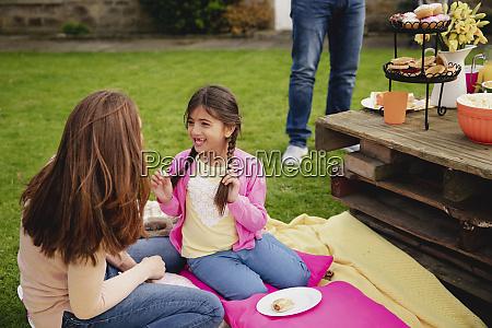 enjoying a garden party