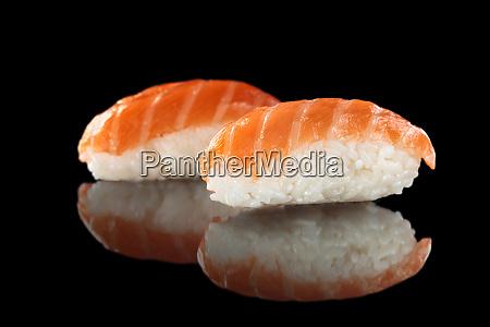 sushi set on black