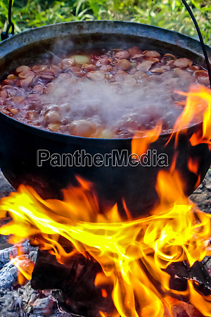 cooking soup in a pot on