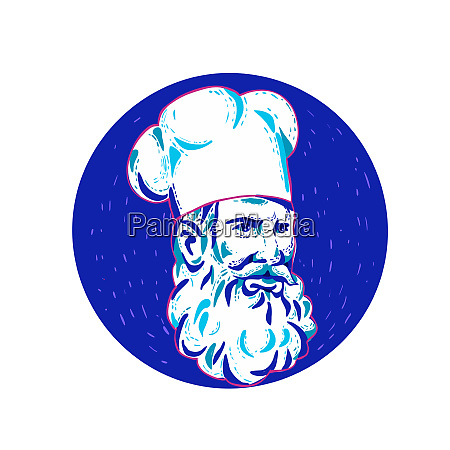 angry bearded chef circle doodle