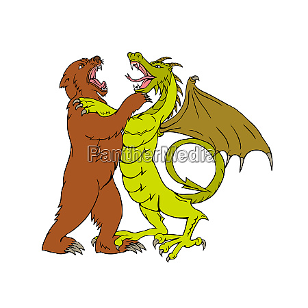 chinese dragon fighting grizzly bear drawing