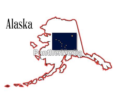 alaska state map and flag
