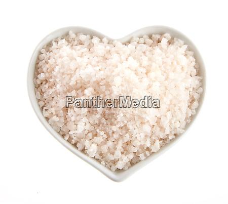heart shaped bowl of himalaya salt