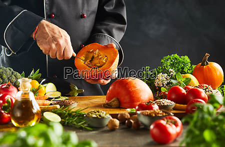 vegetarian chef removing pips from a