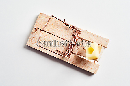 wooden mousetrap with cheese from above