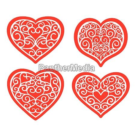 set hand drawn hearts on white